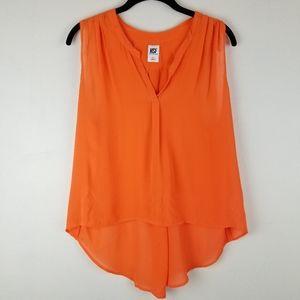 NSF Soft Orange Silk Split Neck Blouse